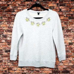 J. Crew Heather Gray Jeweled sweatshirt